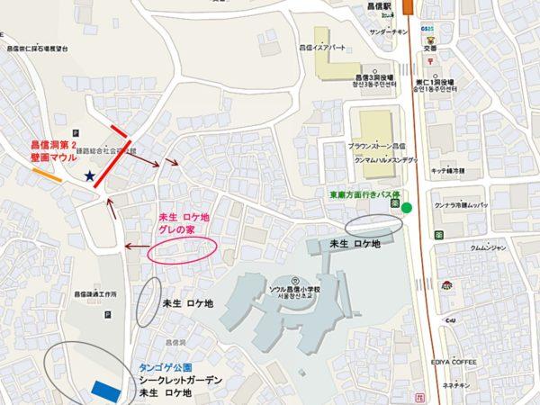 昌信洞第2壁画マウル付近の地図