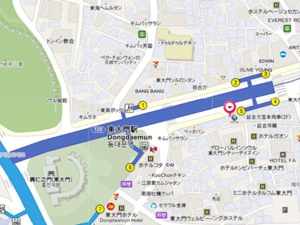 東門食堂の地図