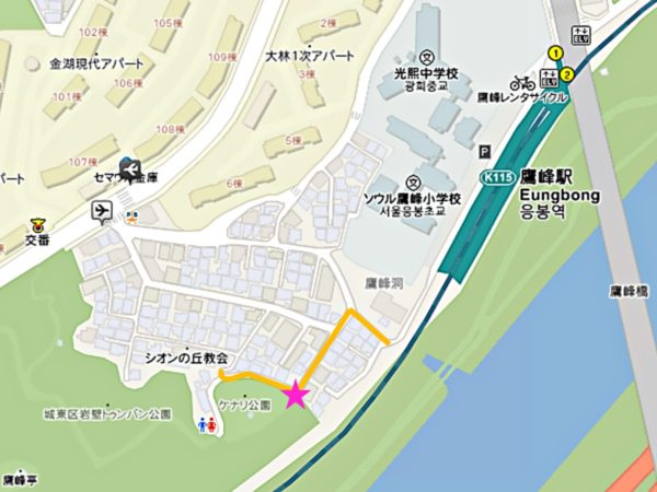 鷹峰山壁画通りの地図