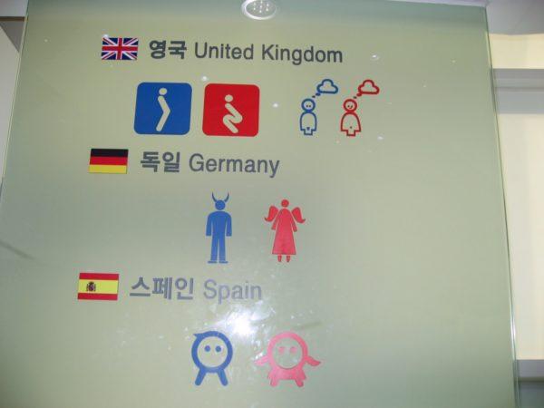 英国、ドイツ、スペインのトイレマーク