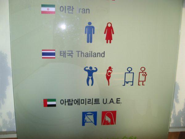 イラン、タイ、UAEのトイレマーク