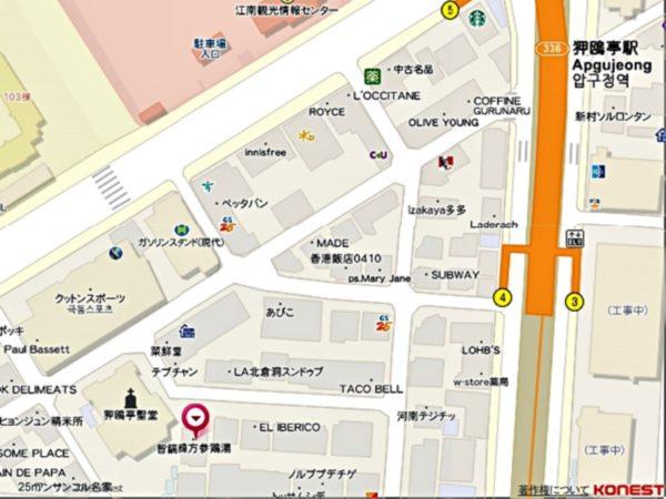 智鎬韓方参鶏湯狎鴎亭店の地図