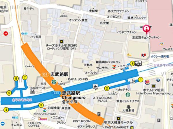 忠武路チョングッチャンの地図