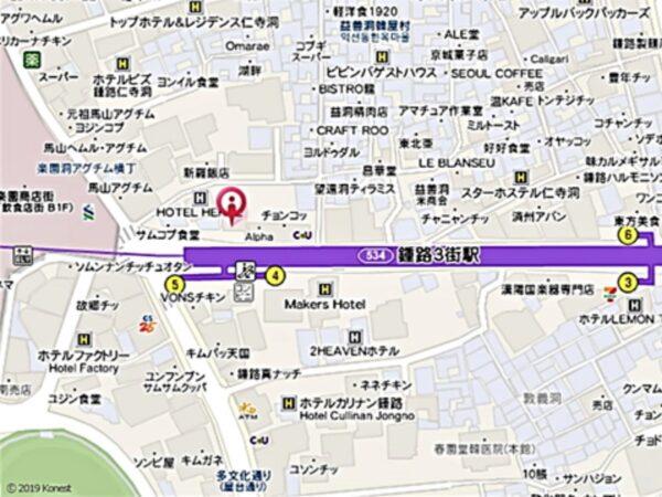 鍾路3街の百済精肉店の地図