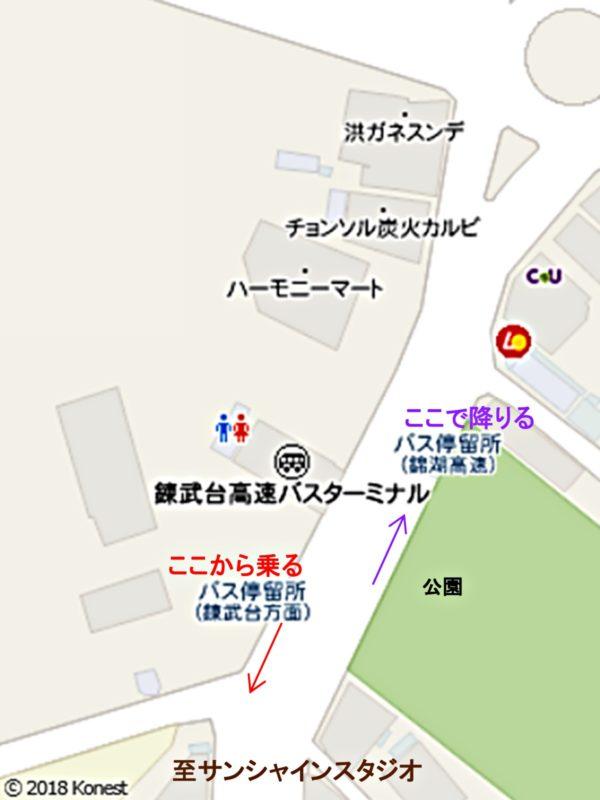 錬武台高速バスターミナル付近地図