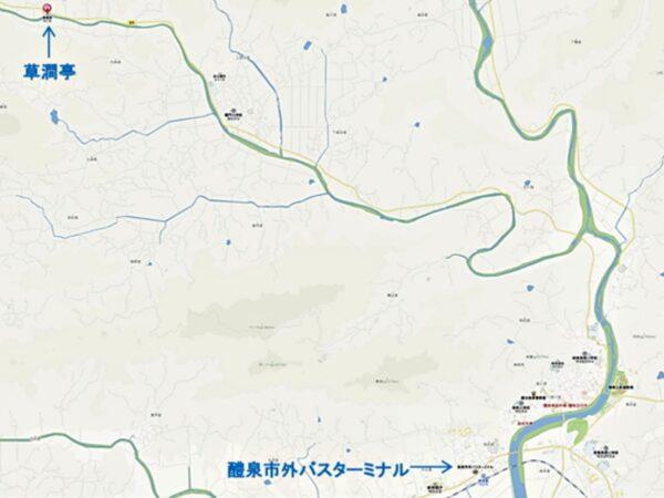 草澗亭の地図
