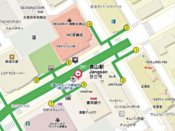 チャンサン駅付近の地図