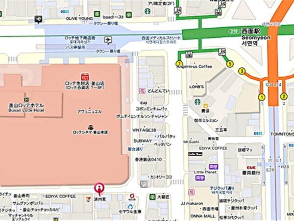 「済州家」西面店の地図