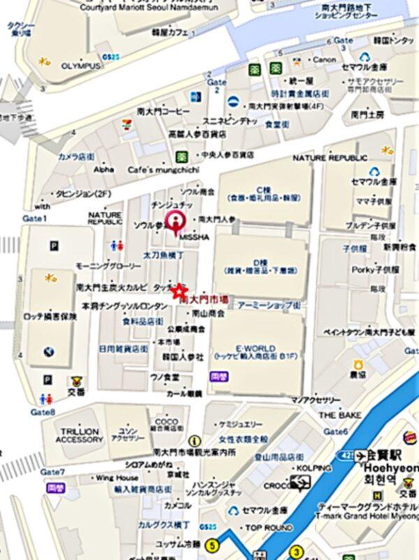 南大門の中央食堂の地図