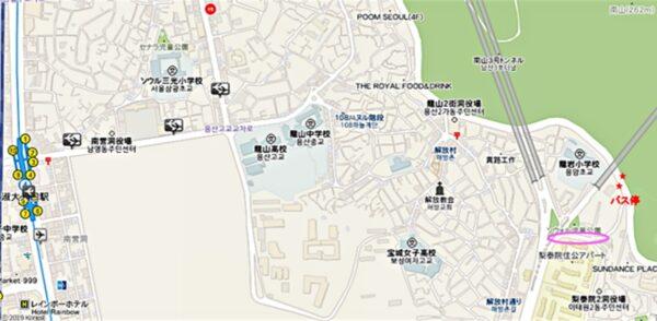 ドラマ「空港に行く道」の梨泰院洞のロケ地付近の地図