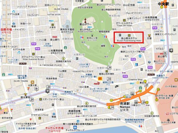 釜山観光ホテルの地図