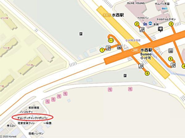 チョングッチャングァポリパッ水西店の地図
