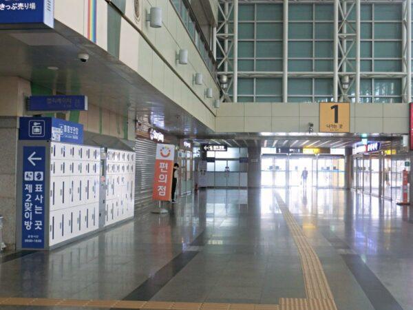 Korail東大邱駅1番出口にあるコインロッカー