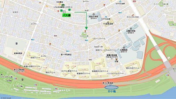 漢江公園トゥッソム地区付近の地図