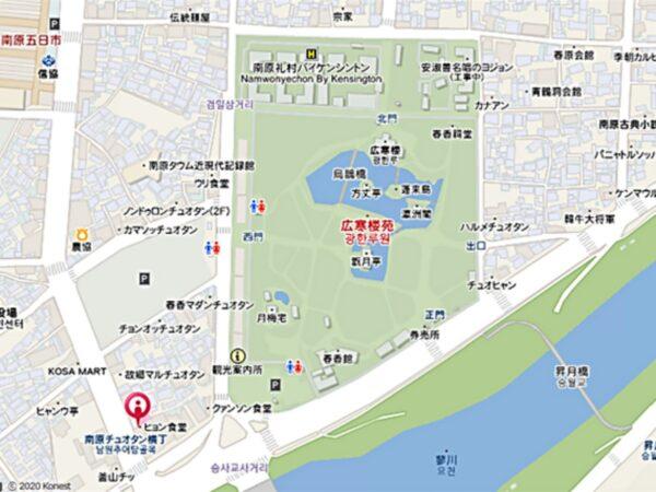 南原のヒョン食堂の地図