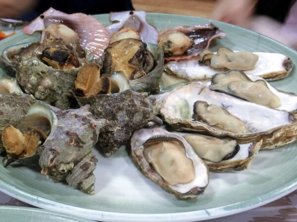 チャガルチ市場で食べた焼牡蠣、焼サザエ、焼ホタテき