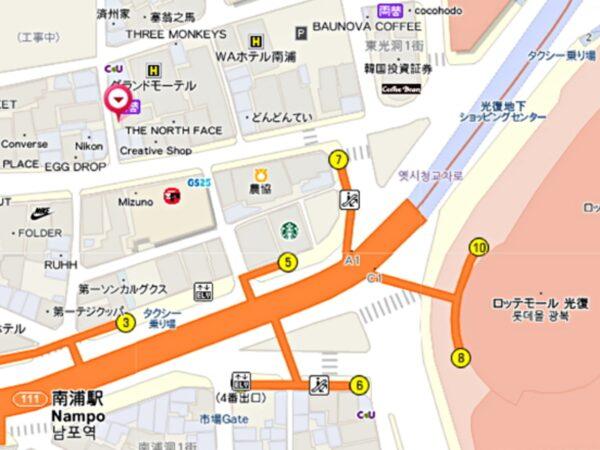 釜山のナンポチッの地図