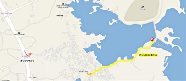 済州島のオジョポ付近の地図
