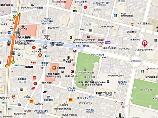 大邱の八道チョングッチャンの地図
