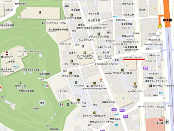 釜山のセマウルヘジャングッの地図
