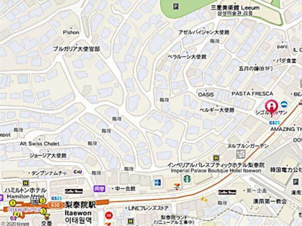 梨泰院のシゴルパッサンの地図