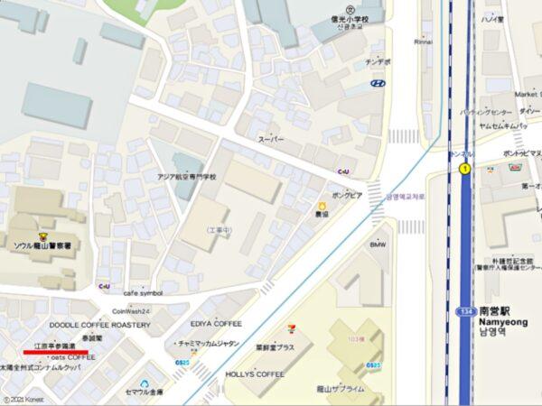 江原亭参鶏湯の地図