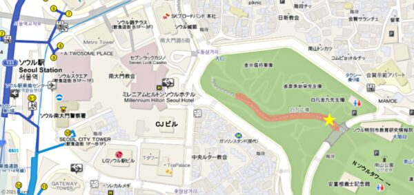南山公園付近の地図
